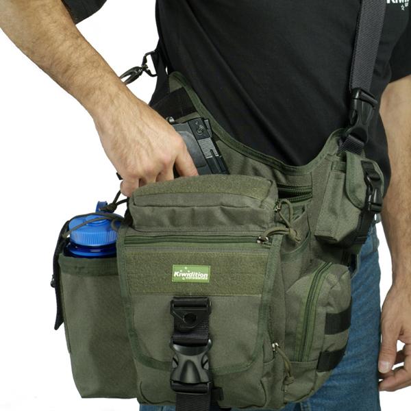 Многоцелевая тактическая сумка для ношения через плечо Kiwidition TAKAHE Цвет: Черный (Black)